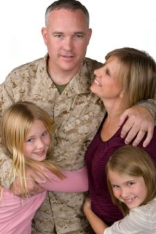 Military man with family