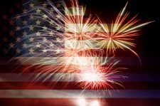 Image of American flag with fireworks