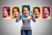 Woman showing many emotions